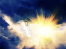 Ángel en el cielo oscuro