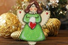 Ángel hecho a mano del juguete de la decoración de la Navidad Juguetes del árbol de navidad, Foto de archivo libre de regalías