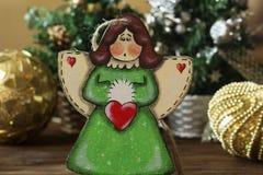Ángel hecho a mano del juguete de la decoración de la Navidad Juguetes del árbol de navidad, Imágenes de archivo libres de regalías