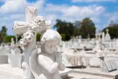 Ángel infantil en un cementerio Imagen de archivo libre de regalías