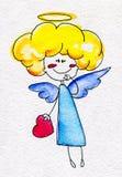 Ángel a mano lindo con el corazón en manos Imagen de archivo