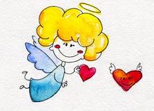 Ángel a mano lindo con el corazón en manos Fotos de archivo