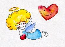 Ángel a mano lindo con el corazón en manos Fotografía de archivo