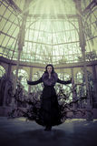 Ángel oscuro. Mujer hermosa en invierno. Modelo de moda de la belleza Girl i Fotografía de archivo libre de regalías
