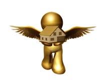Ángel que da lejos la casa libre Fotos de archivo