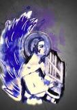 Ángel que toca la arpa Arte contemporáneo ilustración del vector