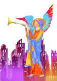 Ángel que toca la trompeta Pintura de la acuarela stock de ilustración
