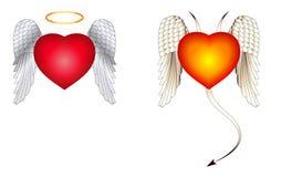 Ángel y alas del diablo Imagen de archivo