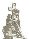 Ángel y cruz tristes. Imagen de archivo libre de regalías