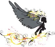 Ángel y flor Imagenes de archivo