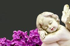 Ángel y flores de la lila Imagen de archivo libre de regalías