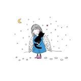 Ángel y gato negro stock de ilustración