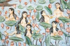 Ángel y loto del mural Imagen de archivo libre de regalías