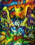 Ángel y ojo, ejemplo del collage del efecto del color ilustración del vector