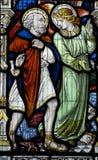 Ángel y santo Leonard de Noblac foto de archivo