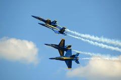 Ángeles azules en el gran salón aeronáutico de Nueva Inglaterra Imágenes de archivo libres de regalías