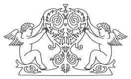 Ángeles con el corazón de la belleza para su diseño Ilustración del Vector
