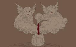 Ángeles con el vino stock de ilustración