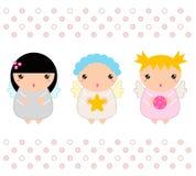 Ángeles de la Navidad de Kawaii fijados stock de ilustración