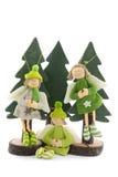 Ángeles de la Navidad en árbol de pino Fotos de archivo