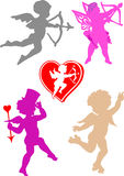 Ángeles de la tarjeta del día de San Valentín del vector Fotografía de archivo