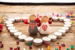 Ángeles del día del ` s de la tarjeta del día de San Valentín Foto de archivo libre de regalías