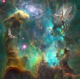 Ángeles en espacio ilustración del vector