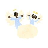 ángeles retros de la historieta en la nube Imagenes de archivo