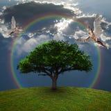 Ángeles sobre árbol verde stock de ilustración