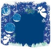 Ángeles y árboles de navidad stock de ilustración