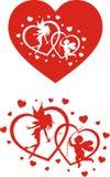 Ángeles y corazones Ilustración del Vector