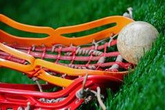 Ángulo abstracto de un cierre del lacrosse para arriba Foto de archivo libre de regalías