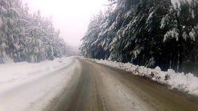 Ángulo bajo que conduce el POV alrededor de curva doble en la carretera nacional nevosa, timelapse metrajes