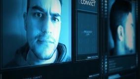 Ángulo criminal futurista de la inclinación del interfaz del perfil del convicto almacen de video