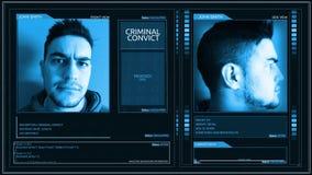 Ángulo criminal futurista del perno de la esquina del interfaz del perfil del convicto almacen de metraje de vídeo
