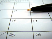 Ángulo del calendario Fotos de archivo