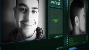 Ángulo futurista de la inclinación del interfaz del perfil del oficial de policía de Digitaces almacen de video