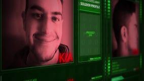 Ángulo futurista de la inclinación del interfaz del perfil del soldado del ejército de Digitaces metrajes