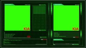 Ángulo futurista genérico kia del perno de la esquina del interfaz del perfil del soldado del ejército de la pantalla verde ilustración del vector
