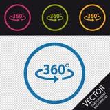 Ángulo 360 grados de icono - ejemplo del vector - aislado en el fondo de Transprent Imagen de archivo