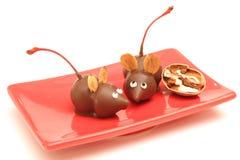 Ángulo hecho en casa de los ratones del chocolate Fotografía de archivo libre de regalías