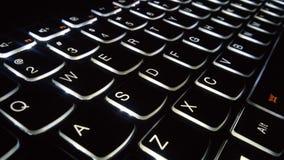 Ángulo retroiluminado del teclado Fotos de archivo