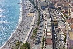 Ángulos del DES de la 'promenade' en Niza, Francia Fotografía de archivo