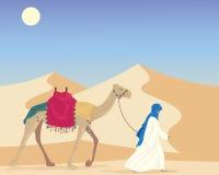 Árabe com camelo ilustração royalty free