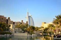 Árabe do Al de Burj e Madinat Jumeirah, Dubai Fotografia de Stock