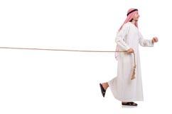 Árabe en concepto del esfuerzo supremo Fotografía de archivo