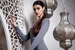 Árabe moreno do penteado da mulher 'sexy' bonita do retrato fotos de stock