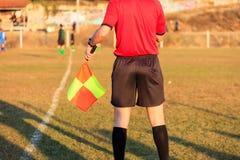 Árbitro assistente do futebol na ação Imagem de Stock Royalty Free