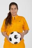 Árbitro com uma esfera de futebol Imagem de Stock Royalty Free
