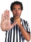 Árbitro con gesto del juego Imagen de archivo libre de regalías